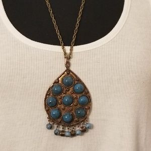 Long Turquoise & Gold Necklace